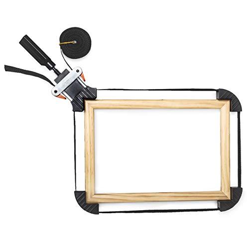 Relaxdays Rahmenspanner mit 4 Spannbacken & 4 Meter Nylongurt als Bandspanner zum Leimen und Schrauben von rechtwinkligen Werkstücken stufenlos verstellbar HBT: 3 x 10 x 28 cm, schwarz