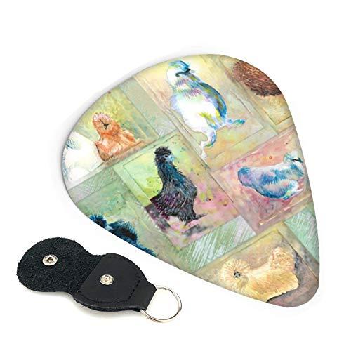 Fluffball Silkie Chickens On The Green púas de guitarra, paquete de 6, adecuado para guitarra, ukelele, bajo, guitarra eléctrica