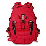 LHI Military Tactical Backpack for Men 35L Army Pack BugOut Bag Molle Rucksack with Reflector - Red (Red, 35L)