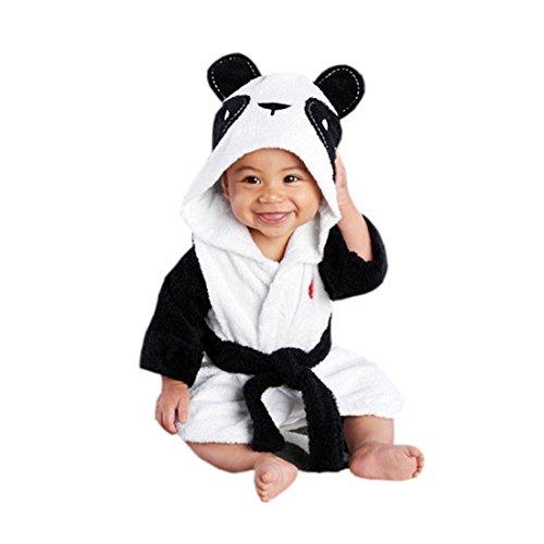 CuteOn Bébé Peignoir - Unisexe Bébé des Gamins Dessin animé Animal Flanelle Encapuchonné Peignoir de Bain Pyjamas Vêtements de Nuit Panda 110cm