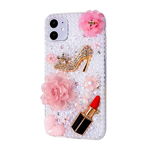iPhone 11 Pro Max Bling Glitter Case,Luxury Shiny Diamond Crystal Rhinestone Sparkly Jewelled Gemstone Sexy Lip Lipstick 3D Handmade Clear Cover Case for iPhone 11 Pro Max 6.5''