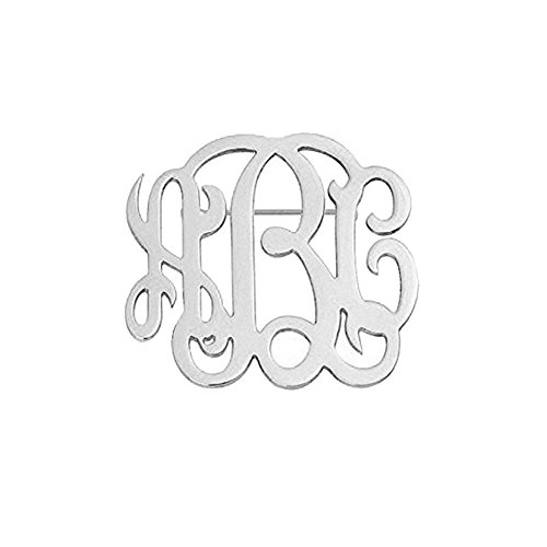 Personalized Custom 3 letters Monogram Brooch Pins Customized Made with Any Inital Fashion Jewelry Suit Logo Label Pin (Silver)