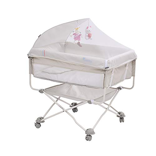 New Bassinet with Wheel Portable Newborn Crib Multi-Function Folding Travel cot Baby Lounger Bionic ...