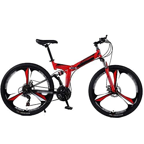 HUAQINEI Bicicletas de montaña, Acero de 24/26 Pulgadas Bicicletas de 21 velocidades Frenos de Disco Doble Bicicleta de Carretera de Velocidad Variable Bicicleta de Carreras, 24 Pulgadas 21 Velocidad