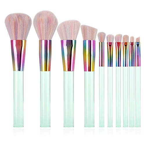 QWQ69 10 Pcs Maquillage Professionnel Pinceaux Premium Synthétique Kabuki Foundation Mélange Kit Fard À Paupières