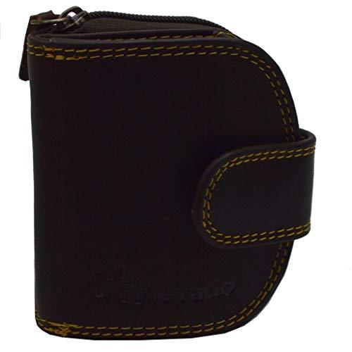 Elegante kleinere Damen Leder Geldbörse in halbrund mit RFID Schutz (braun)