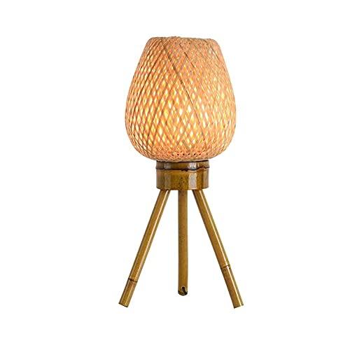 SPNEC Chino Retro Hecho a Mano Tubo de bambú Creativo Personalidad Lámpara de Mesa de bambú Arte de té Decoración Dormitorio Dormitorio Jardín Lámpara