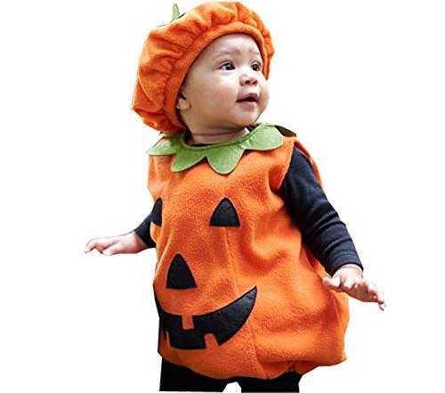 Disfraz Halloween Bebé Conjunto Traje 2 Piezas Mameluco de Calabaza sin Manga + Sombrero Ropa Niñas para Fiesta Fotografía (Naranja, 6-12 Meses)