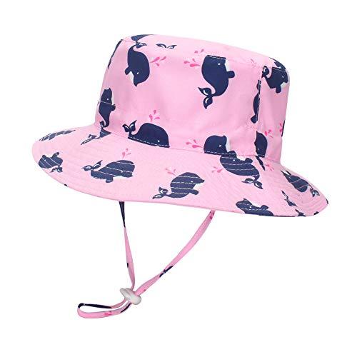 LACOFIA Cappello da Sole per Bambina Cappellino Estivo da 50 + UPF Protezione Solare neonata Berretto da Spiaggia con Cinturino sottogola Regolabile Balena Rosa 2-3 Anni