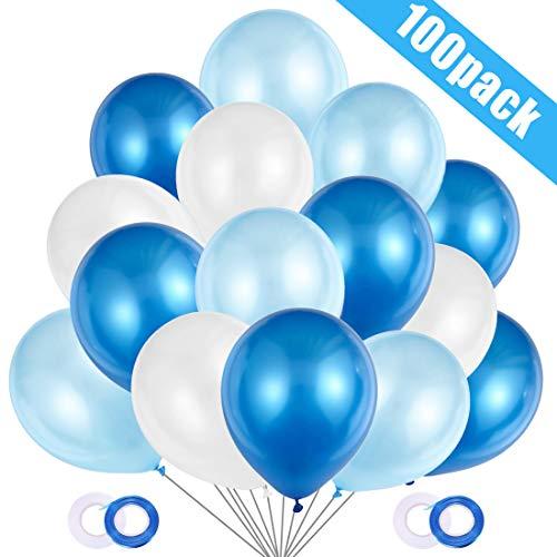 JOJOR Globos Azules y Blancos,100 Piezas Azul Globos Helio Latex Perla Ø 30 cm para Bebe 1 Año Cumpleaños,Niño Bautizos Comunion Baby Shower Azul,Bodas Aniversario Graduacion Fiesta Arco Decoracion