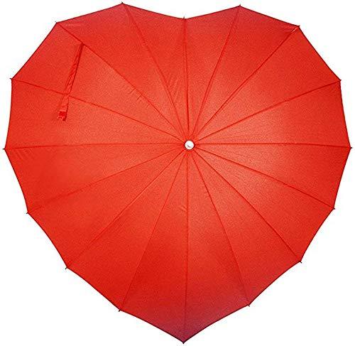 nadamuSun Für Immer Liebes-Sonnenschirm-roter Herz-geformter Mädchen-Regenschirm für Valentinsgruß, Hochzeit, Verlobung und Foto-Stützen (Red)