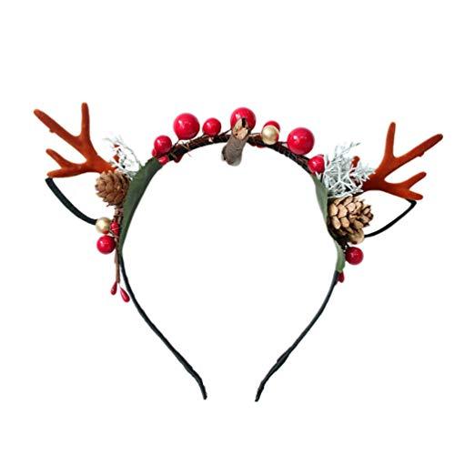 STOBOK diadema de astas de reno de navidad con orejas de reno conos de pino y bayas rojas