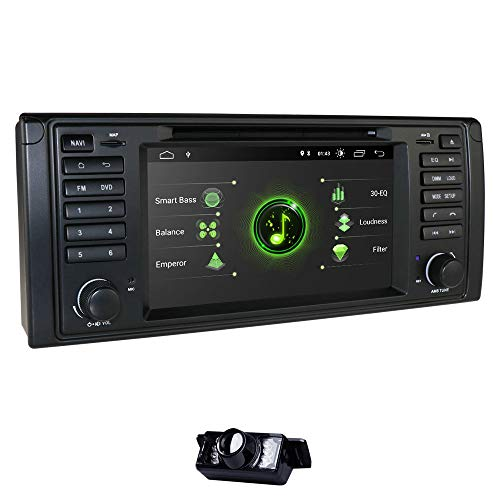 Android 10 Car Stereo 2GB + 16GB Single DIN Vehicle DVD Player con Pantalla táctil de 7 Pulgadas + Canbus Se Adapta para 5-E39/X5-E53/M5/7-E38 Soporte Mirror-Link RDS WiFi SWC DVR OBD2 Dab+