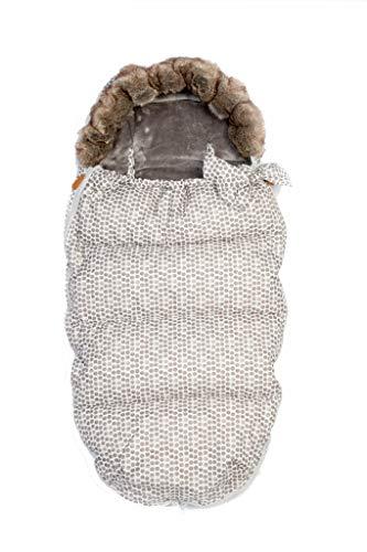 Baby Wimpelkette Staubbeutel Halsband mit Fake Fell Kinderwagen Fußsack Herzlich (grey)
