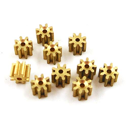 Ochoos 81A 0.3M Brass Gear 8 Teeth Aircraft Parts Toy Model Spindle Pinion Shaft Hole 0.98mm Tight for 1mm 10PCS/LOT - (Number of Teeth: 8 Teeth, Hole Diameter: 1mm 0.3M)