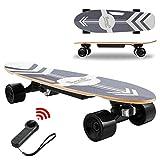 Devo Youth Electric Skateboard with Remote, Longboard Skateboards for Tenns,350W Hub Motor Electric Longboard,7 Layers Maple Waterproof Skateboards,12 MPH Top Speed, Max Load 220lbs (Black)