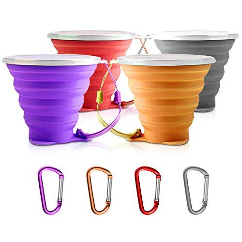 Senhai 4 Stück Faltbarer Travel Cup mit Deckel, tragbar Silikon Multifunktion Versenkbare Tasse zum Wandern Camping Picknick, mit 4er Karabiner - 4 Farben