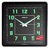 Oreva Night Glow Square Plastic Analog Wall Clock (30.6 cm x 4.25 cm x 30.6 cm, Black, AQ-1847)