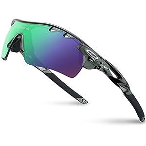 RIVBOS(リバッズ)RBK0801 スポーツサングラス 偏光レンズ ロードバイク 自転車用 uv400 紫外線カット メンズ レディース ユニセックス適用 サングラス(TR90 透明 グレー)