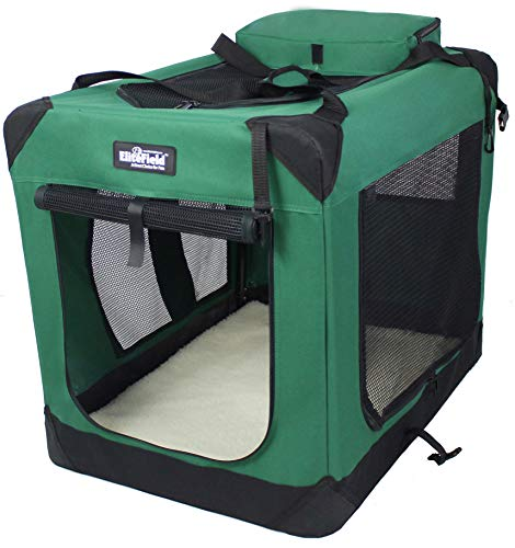 EliteField 3-Door Folding Soft Dog Crate, Indoor & Outdoor Pet Home, Multiple Sizes and Colors Available (36' L x 24' W x 28' H, Green)
