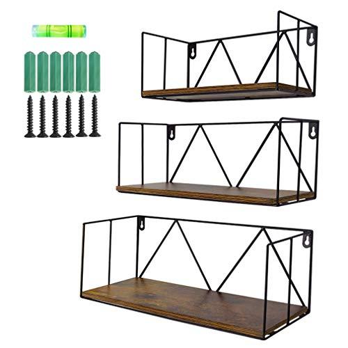 Amazon Brand - Umi Estantes flotantes de Madera rústica para baños, dormitorios, oficinas, cocinas, Set de 3