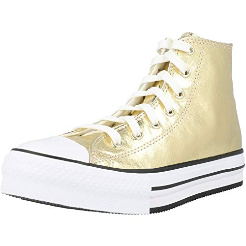 Converse Chuck Taylor All Star EVA Lift Hi Digital Powder Dorado/Negro Poliéster Adolescentes Entrenadores Zapatos