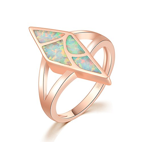 CiNily 14K Rose Gold Plated Opal Ring for Women Girls Fashion Geometric Gemsotne Ring Opal Jewelry Gift (8)