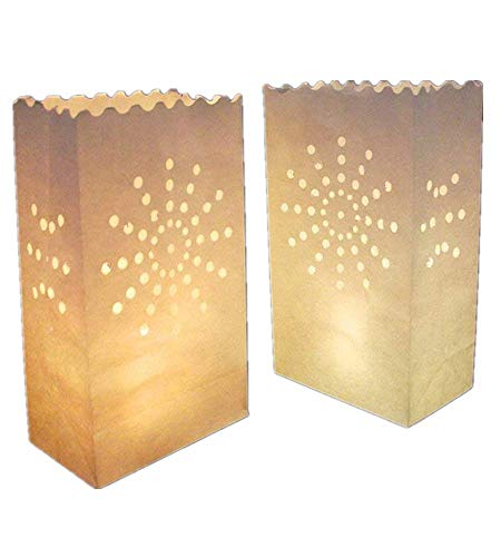 AIBER White Paper Tea Light Candle Lantern Bags Wedding Party Garden BBQ Xmas Decor(Firework) Pack of 30