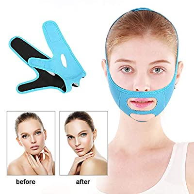 Facial Slimming Bandages V-face Line Belt Reducer and Anti-wrinkle Face Care Compact Skin(Blue) by TMISHION