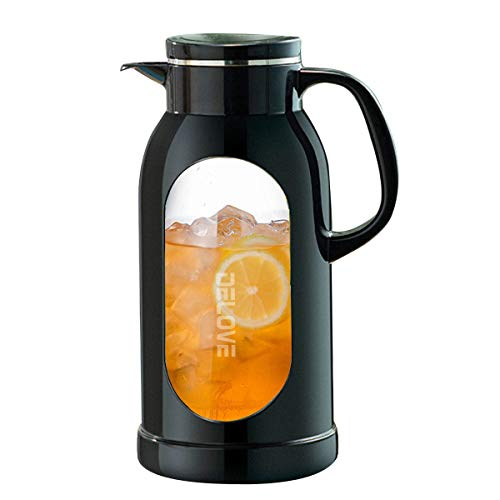 Delove 68 Ounces Glass Pitcher with Shatterproof Shell - Heat Resistant All-glass Liner -18/8 Stainless Steel Filter Lid - Great for Ice Tea,Hot/Cold Water and Juice Beverage (Black)