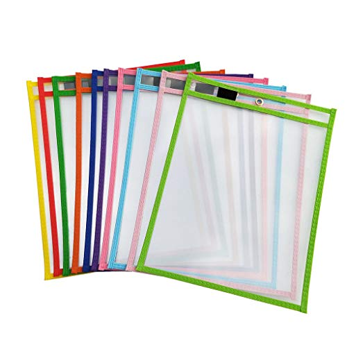 10Pcs Dry Erase File Folder Document Bag for Reusable Writing and Wiping Bags for Office and School Supplies