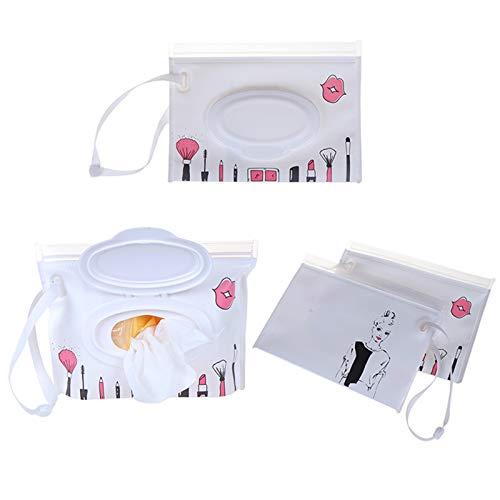 LXQS Caja de toallitas Eco-Friendly Easy-Carry Toallitas húmedas Bolsa Snap Strap Toallitas Recipiente Claza Cosmética Bolsa Limpieza de Embrague Toallitas Caja Toallitas fáciles de llenar