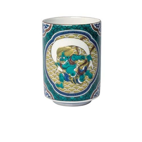 """Kutani-yaki Japonés de cerámica Japonesa Era Foto Japonesa Taza de Té Yunomi """"Yoshidaya"""" Fujin Dios del Viento SK-390"""