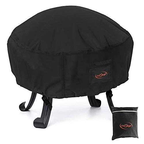 2win2buy Fire Pit Cover, Waterproof 600D Heavy Duty Round Patio Fire Bowl Covers, All-Season Protection Full Coverage Outdoor Fireplace Cover, Anti-UV Windproof No Fading Oxford Cloth Black