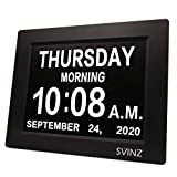 SVINZ Newest 5 Alarms Dementia Clock, Day Clock w/ Snooze Button, 2 Auto-Dim Options, Large 8' Display Wall Digital Calendar Alarm Clock for Vision Impaired, Elderly, Memory Loss, Black, SDC008