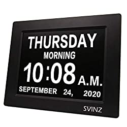 SVINZ Newest 5 Alarms Dementia Clock, Day Clock w/ Snooze Button, 2 Auto-Dim Options, Large 8 Display Wall Digital Calendar Alarm Clock for Vision Impaired, Elderly, Memory Loss, Black, SDC008