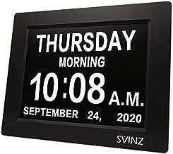 SVINZ Newest 5 Alarms Dementia Clock, Day Clock w/ Snooze Button, 2 Auto-Dim Options, Large 8