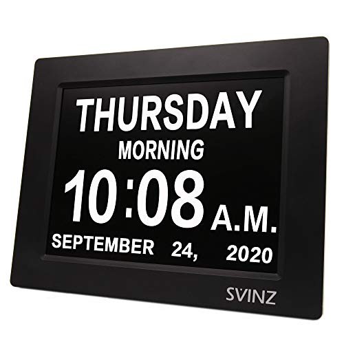Day Clock w/ Snooze Button, Newest SVINZ 5 Alarms Dementia Clock, 2 Auto-Dim Options, Large 8' Display Wall Digital Calendar Alarm Clock for Vision Impaired, Elderly, Memory Loss, Black, SDC008