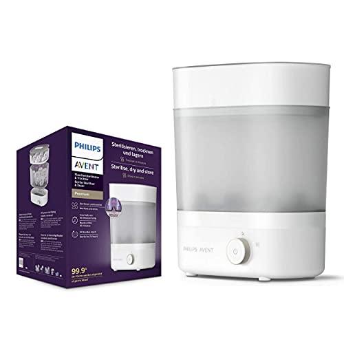 Philips Esterilizador y secador de botellas premium Avent, mata el 99,9% de los gérmenes*, permanece estéril durante 24 horas*, SCF293/01