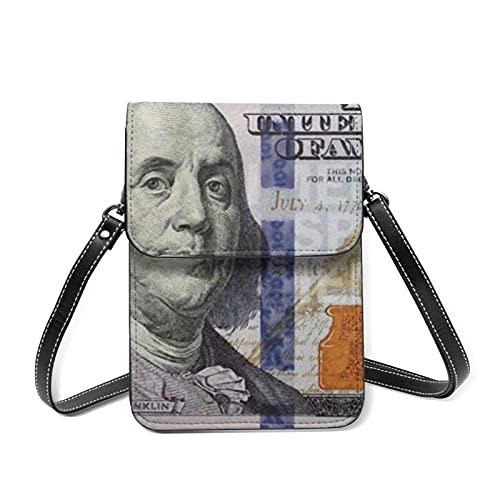 Monedero para teléfono móvil S para mujer Billete de 100 dólares S Monedero para teléfono móvil de cuero para mujer Bolso bandolera pequeño Monedero para cambio Monedero Bolsas para pasaporte de viaj
