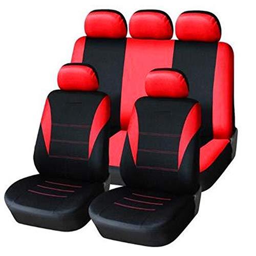 KKmoon Sitzbezüge Auto Set Universal Autositzbezüge Schonbezüge Rot Vordersitze und Rücksitze für alle Autos 9 Stücke