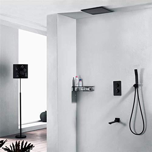 Juego de grifo de ducha empotrable de color negro, juego de grifos de pared de 3 a 4 funciones, ducha de lujo, F330 mm