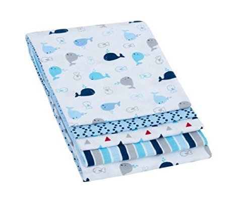 Garanimals 4 Pack Receiving Blankets Blue 30 x 30 100 Percent Brushed Cotton