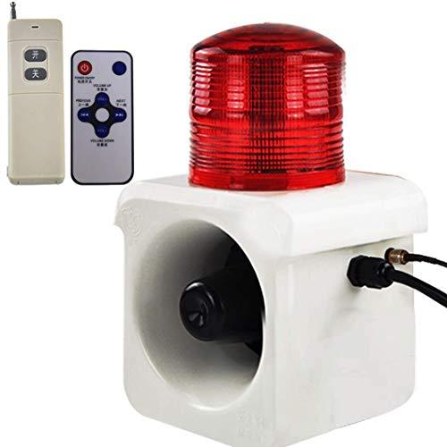 YJINGRUI Sirena Alarma Estroboscópica Impermeable con 500M de Control Remoto 120dB Alarma Sonido y Luz con Mando Infrarrojo 8m de Distancia de Inducción Voz personalizada (24V)
