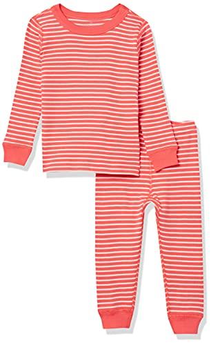 Moon and Back de Hanna Andersson - Conjunto de pijama de 2 piezas de manga larga, hecho de algodón orgánico y con diseño a rayas para bebé, Raya coral, 6-12 messes (67-72 CM)
