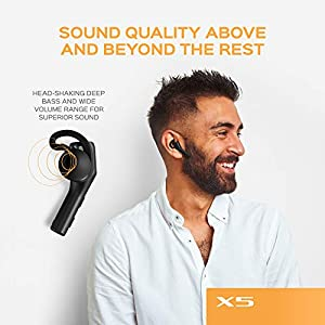 TREBLAB X5 (2020) - True Wireless Earbuds with Microphone | Bluetooth 5.0, 35H playtime | Bluetooth Earbuds with Wireless Charging Case for Listening to Music and Podcasts, Work, Sport, TV and Walking