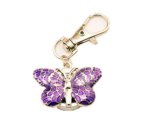 New Small Butterfly Design Key Ring Pocket Watch Lady Children Girls Xmas Gift (Purple)