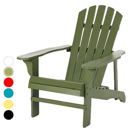 Adirondack Chair Extra Large Reclining, Wooden Outdoor Garden Lounge Chair for Patio Deck Balcony Lawn, Max Capacity 220 Lbs (Color : Dark Green)