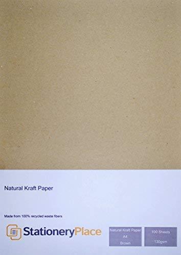 Stationery Place kraftpapier, A4, 130 g/m 2, 100% gerecycled, bruin, 100 stuks