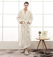 男性と女性のための豪華なソフビぬいぐるみローブ、ショールカラーロングバスローブ冬暖かいカップルナイトガウンクリスマスギフト,Men white,3XL